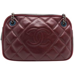 Chanel Wine Red / Black Quilted Calfskin Leather Crossbody Bag