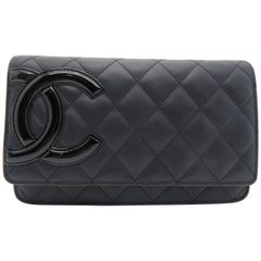 Chanel Cambon Line Wallet On Chain Black Quilted Calfskin Leather Chain Crossbod