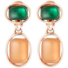 Oscar de la Renta Rose Gold Drop Earrings