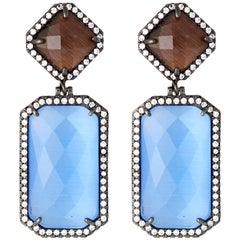 Blue Cats Eye Drop Earrings