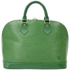 Louis Vuitton Alma Green Epi Leather Hand Bag