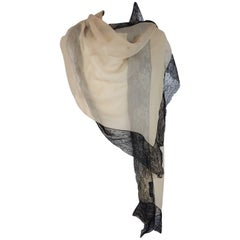 2000s Dolce e Gabbana powder black lace silk foulard scarf scarves women's