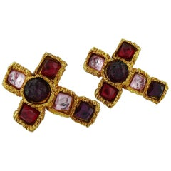 Alexis Lahellec Paris Vintage Jewelled Cross Clip-On Earrings