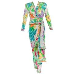 Leonard Paris Silk Jersey Mikado Floral Dress And Pants Set, Vintage