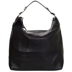 Gucci Black Leather Large Icon Bit Hobo Bag