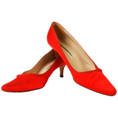 Lip Stick Red Satin Monolo Blahnik Kitten Heels