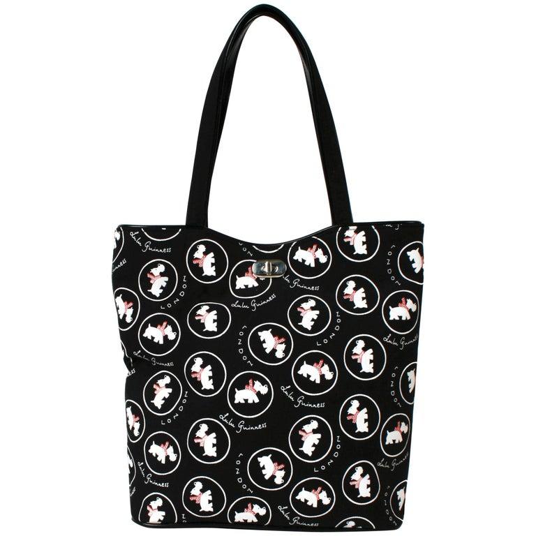 Lulu Guinness Black Canvas London Bag with Westies