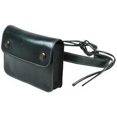 """Vintage Hermes Hunter Green Box Calf Leather """"Pochette"""" Waist Bag"""