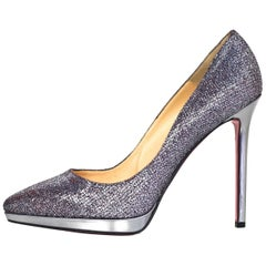 Christian Louboutin Silver Glitter Pigalle Plato 120mm Point Toe Pumps sz 4