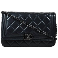 """Chanel Black Quilted Leather Chain Strap Mini Boy """"WOC"""" Crossbody Bag"""
