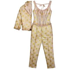 Prada Champagne & Gold Brocade 3-Piece Pant Suit sz IT40