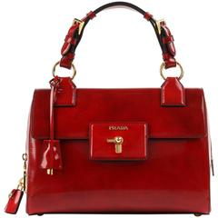 PRADA A/W 2012 Scarlet Red Spazzolato Leather Turn Lock Handbag Purse