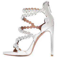 Alaia New Sold Out Metallic Silver Leather Cut Out Evening Sandals Heels in Box