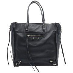 Balenciaga Papier Zip Around Black Calfskin Leather Tote Bag