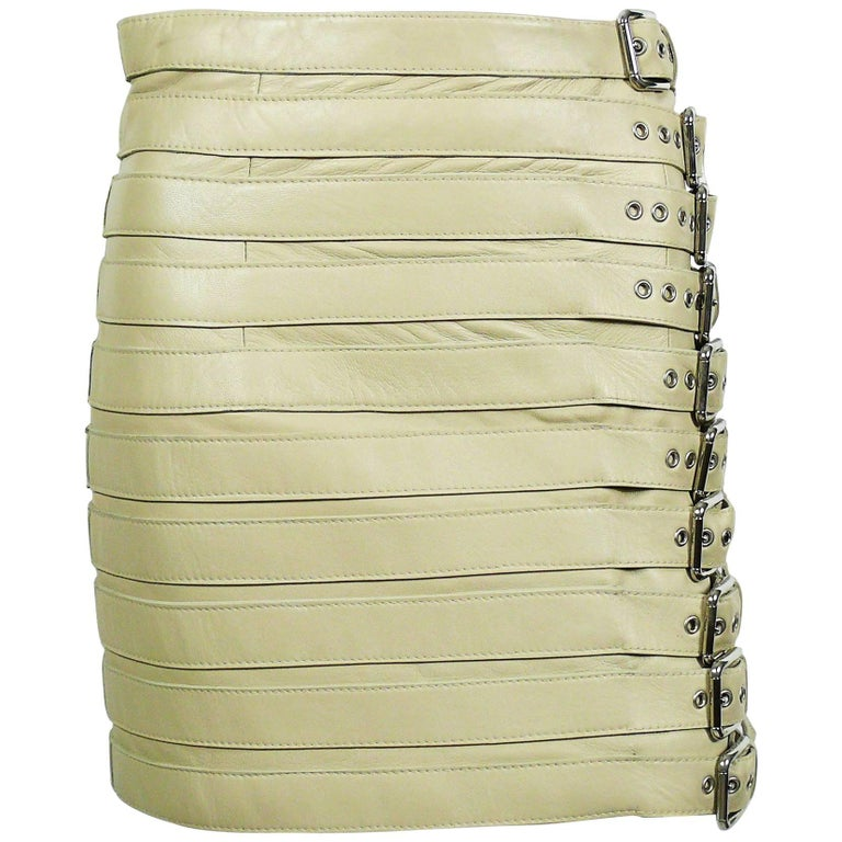 Dolce & Gabbana Lambskin Leather Bondage Skirt