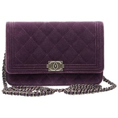 2010s Chanel Violet Quilted Velvet Boy Wallet-on-Chain WOC