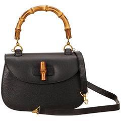 Gucci Black Bamboo Handbag Bag