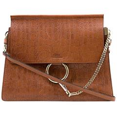 Chloe Brown Faye Medium Croc-Effect Shoulder Bag