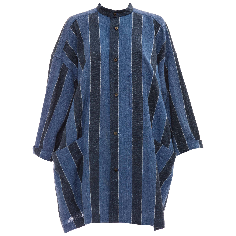 Issey Miyake Plantation Woven Cotton Button Front Shirt, Circa: 1980's
