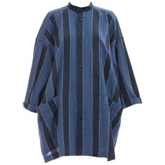 Issey Miyake Plantation Woven Cotton Button Front Shirt, Circa: 1980's