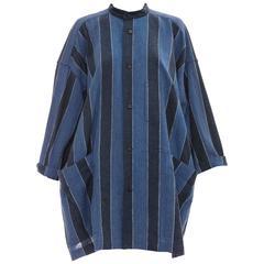Issey Miyake Plantation Blue Striped Woven Cotton Jacket, Circa 1980's