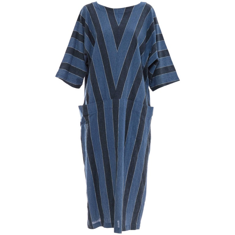 Issey Miyake Plantation Blue Striped Woven Cotton Dress, Circa 1980's For Sale