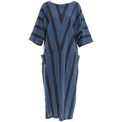 Issey Miyake Plantation Blue Striped Woven Cotton Dress, Circa 1980's