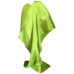 Issey Miyake Sculptural Neon Green Pleated Poncho by Issey Miyake Pleats Please