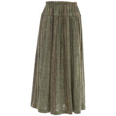 Issey Miyake Plantation Olive Green Woven Cotton Skirt, Circa 1980's