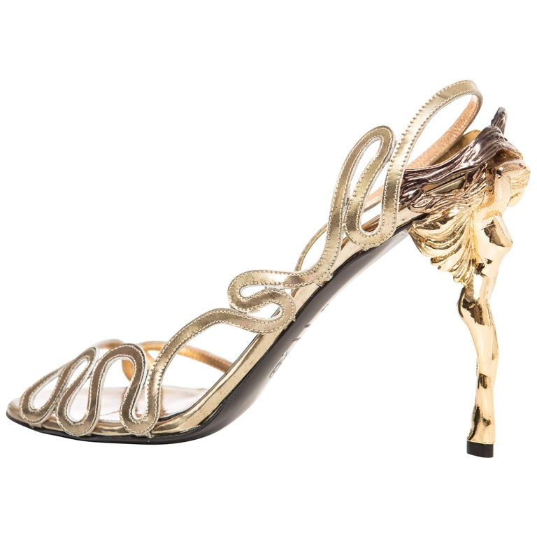 Alexander McQueen Angels & Demons Gold Leather Slingback Sandals, Fall 2010 For Sale