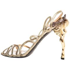 Alexander McQueen Gold Leather Slingback Sandals Angels & Demons, Fall 2010