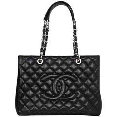Chanel Black Caviar Leather GST Grand Shopper Tote Bag with SHW