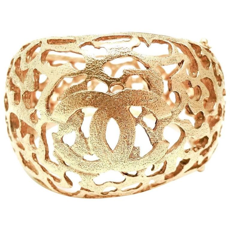 Vintage Signed Chanel season 25 Open-Work CC Cuff Bracelet For Sale