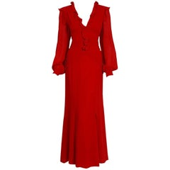 2005 Carolina Herrera Ruby Red Silk Ruffle Plunge Billow Sleeve Full Length Gown