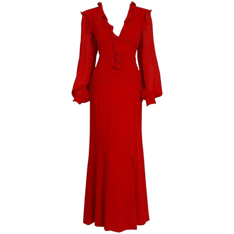 2005 Carolina Herrera Ruby-Red Silk Ruffle Plunge Billow-Sleeve Full Length Gown