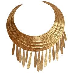 Herve van der Straeten Gilded Brass Torque Fringe Necklace
