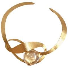 Herve van der Straeten Rock Crystal Knot Torque Necklace