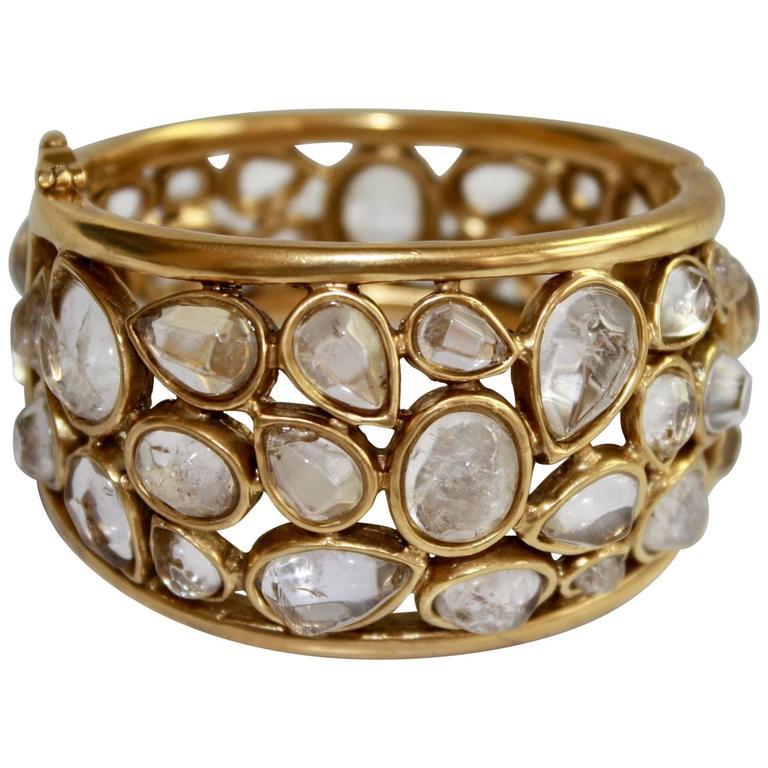 """Goossens Paris Rock Crystal """"Cachmere"""" Bracelet For Sale"""