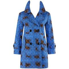 "LOUIS VUITTON c.2012 YAYOI KUSAMA Blue ""Monogram Town"" Polkadot Trench Coat RARE"