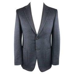 Men's PRADA 36 Regular Ash Blue Herringbone Wool 2 Button Patch Pocket Sport Coa