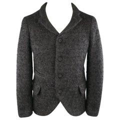 Men's COMME des GARCONS HOMME PLUS XS Black Fuzzy Textured Mohair / Wool Jacket