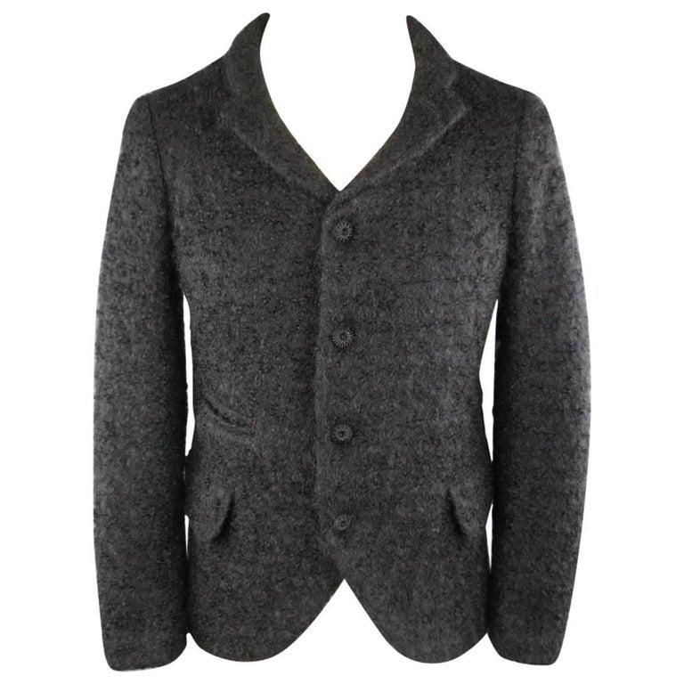 Men's COMME des GARCONS HOMME PLUS XS Black Fuzzy Textured Mohair / Wool Jacket For Sale