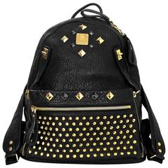 MCM Black & Gold Studded Large Dual Stark Backpack with Dust Bag