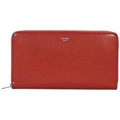 Red Céline Zip-Around Leather Wallet