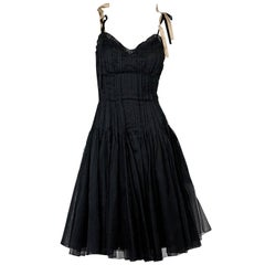 Black Prada Chiffon Organza Midi Dress