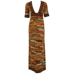 1970's Jean Varon Colorful Ombre Wool Knit Bohemian Low-Cut Plunge Maxi Dress
