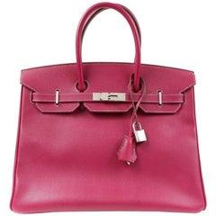 Hermès Raspberry Epsom 35 cm Birkin Bag with Rose Tyrien Interior