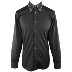 Men's PRADA Size S Black Cotton Fall 2009 Collection Studded Collar Shirt