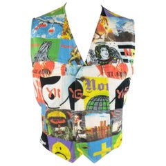 Vintage MOSCHINO 42 Multi Media Photo Print Cotton Denim Vest