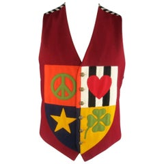 Vintage MOSCHINO Cheap & Chic 42 Burgundy Wool Patchwork Peace Love Crest Vest